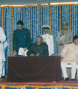 Taking Oath as Finance Minister of Maharashtra
